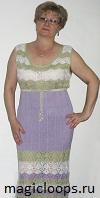 платье вязаное ажурными полосами