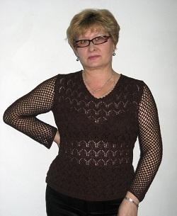 ажурный коричневый пуловер