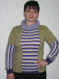 комбинированный пуловер
