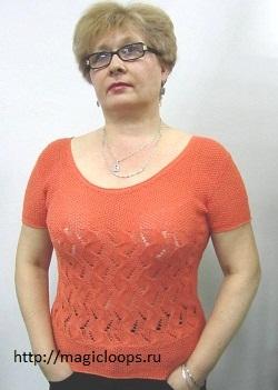 Оранжевый пуловер с короткими рукавами