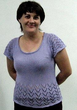 сиреневый пуловер  с короткими рукавами