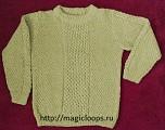 пуловер с полосой из сот