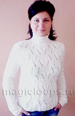 Ажурный пуловер с рукавами в резинку.