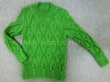 пуловер с бордюром из кос